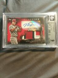 2018 Mike Trout Topps Inception Bgs 9 25/25 Patch Red Autographs