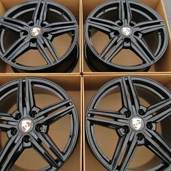 19 Porsche Cayenne Turbo Factory Oem Original Gloss Black Wheels Rims 19 Inch
