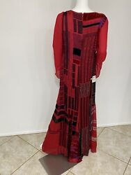 Vintage Bill Blass His Best Line Red Silk Gown W Bugle Beading Embroidery -10