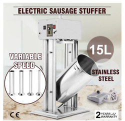 15l 33lbs Electric Sausage Filler Stuffer Meat Maker Stainless Steel Vertical