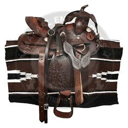 Western Premium Leather Barrel Racing Trail Horse Saddle Tack Size 14 To 18 Inch