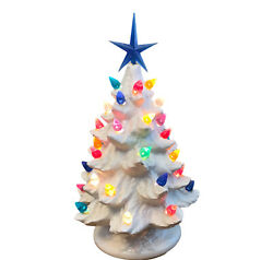 Small Ceramic Christmas Tree And Base White Multi Color Lights Electric Usa Nowell
