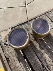 Early Vintage Automobile Car Head Lights Overland  Rat Rod Parts Or Repair