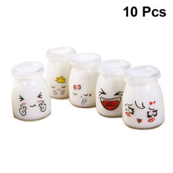 10pcs Glass Heat-resistant Yogurt Containers Milk Cup Jelly Jar For Home Shop