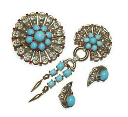 Trifari Sterling Turquoise Filigree Pins Brooches Earrings Set 1940s