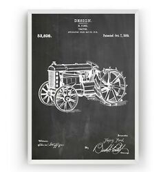 Henry Ford Tractor 1919 Patent Print - Poster Wall Art Gift Farming - Unframed