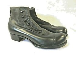 Rare Packard Mens Black Leather High Top Button Boots Shoes Museum Quality Early