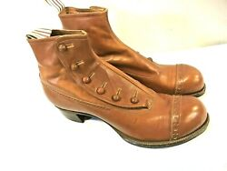 Rare Mens Brown Leather High Top Button Boots Shoes Museum Quality Early