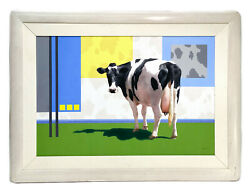 Lorna Patrick American 20th C Oil On Canvas Painting Hip Cow 1992