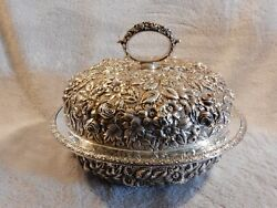 Antique Jacobi And Jenkins, Baltimore Sterling Silver Repoussé Lidded Bowl