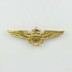 10k Yellow Gold Military Wings United States Naval Aviator Badge Pin