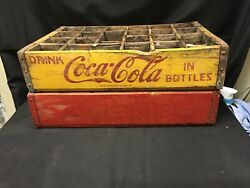 2 Vintage Wooden Crates Yeloow Dr. Pepper And Red And Yellow Coca Cola