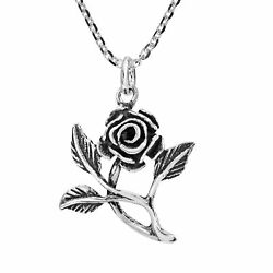 Enchanted Rose Leafy Branch Sterling Silver Pendant Necklace