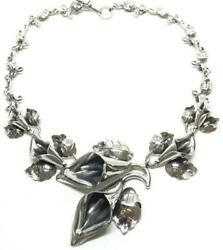 Taxco Mexican Sterling Silver Vintage Design Calla Lily Flower Necklace Mexico