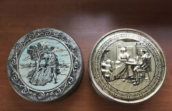Lot Of 2 Vintage Embossed Colonial Scenes Cookie/cake/sewing Tins Couple Family