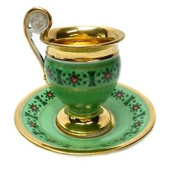 Empire Porcelain Green Cup And Saucer With Faux Ruby Cabochon C1800-1850