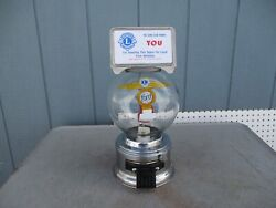 Vintage Ford Stainless Steel 10 Cent Gumball Machine With Glass Globe And Topper