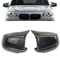 Pair Carbon Fiber Style Door Side Mirror Cover Caps For Bmw F10 Pre-lci 2011-13