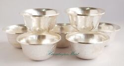 3.5 Offering Bowls Set Silver Plated And Finely Carved From Patan, Nepal
