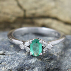 Womens Emerald Diamond Gemstone 925 Silver Engagements Ring Gift For Her 4115