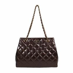 Brown 1997-1999 Cc Quilted Shoulder Bag 8 X 4 X 11.2