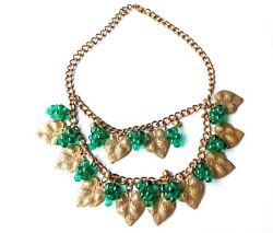 Miriam Haskell Green Poured Glass Grape, Grape Leaves Collar Necklace