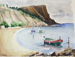 Large Watercolour Marseille Provence Port Sea Boats Signed M.cobourg