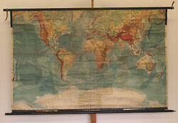 Wall Map Physical World Map Earth Germany1915 Produced 205x132 Vintage
