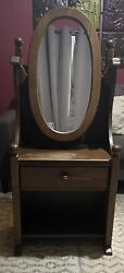 Wood Vanity With Oval Mirror And Drawer- Small/child's Size- Read Description