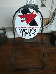 Wolfand039s Head Motor Oil Double Sided Metal Sign With Stand