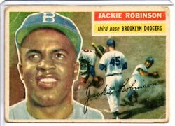 1956 Topps Jackie Robinson Card 30 White Back Wb Dodgers Vintage 1950s