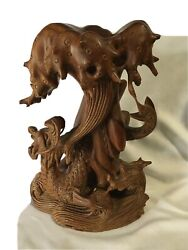 Esquisite Chinese Hand Carved Sea Monster/dragon Sculpture