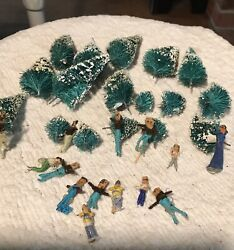 Rare Lot Of Vintage Christmas Bottle Brush Trees And Miniature Hand Made People