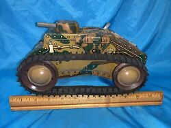 Vintage Marx E12 Military Camo Tank Tin Litho Wind-up Toy Exceptional Condition