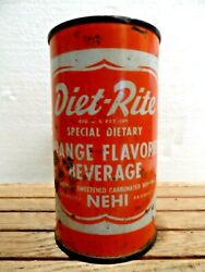 Diet Rite Orange Flavored Beverage Flat Top Soda Can,this Can Pictured In Vol.2