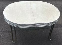 Vintage 1950andrsquos Dinette Dining Room Table Chrome Frame Formica W/ Two Leafs