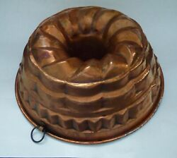 Anddeg Antique French Copper Tin Lined Mould Mold Pudding Cake Baking Cooking Vintage