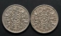 Great Britain Uk 1961 1963 Circulated Two Shilling Coins - Elizabeth Ii - 654