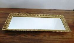 Vintage Goldtone Filigree Rectangular Vanity Mirror Tray footed 19quot; by 7