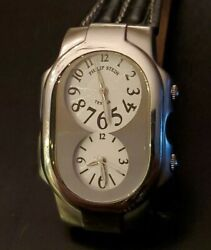 Philip Stein Teslar Mens Stainless Steel Dual Time Emf Protection 3atm Wr Watch
