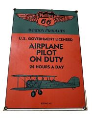Phillips 66 Porcelain Pilot Sign Airplane Pilot On Duty Boeing 40 Made In Usa