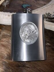 Pewter Flask, Bear Fishing, Wildlife Themed, 8 Ounces, Stainless Steel, Pewter