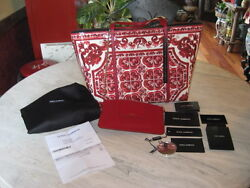 Nwt Dolce And Gabbana Majolica Red And White All Leather Tote Handbag Shopper