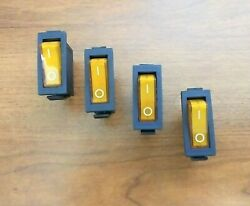 4 Bbt 12 Volt Marine Grade Lighted Amber On/off Snap-in Rocker Switches