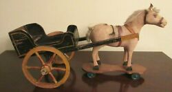 Antique Toy Horse On Platform And Wheels Pull Toy With Antique Wood Cart