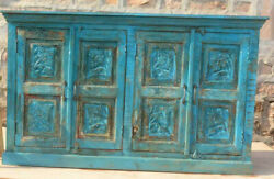 Vintage Rustic Blue Sideboard Carved Wood Console Buffet Storage Cabinet Chest