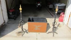 Massive Pair Of Antique Federal Hand Forged Andirons Fire Dogs Cast Iron Brass