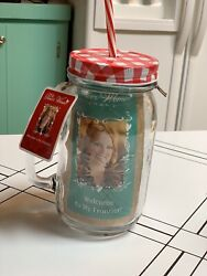 Pioneer Woman Rare Charming Check Mason Jar Drink Ware Hard To Find Pattern New
