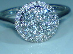 18ct White Gold Hallmarked Real Natural 1.00 Carat Diamond Cluster Ring Size O