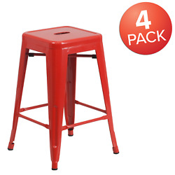 Flash Furniture 24 High Backless Metal Indoor-outdoor Counter Height Stool With